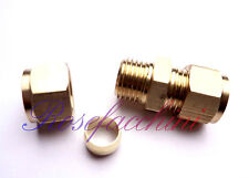 """8mm =5/16"""" BRASS STRAIGHT COMPRESSION CONNECTOR JOIN LPG GAS PIPE FITTING OLIVES"""