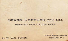 Sears Roebuck & Co Roofing Application Department Business Card Newark NJ