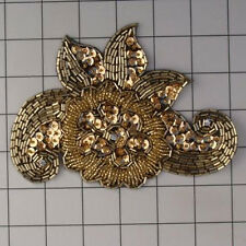 GOLD ON BLACK FLOWER RHINESTONE SEQUIN BEADED APPLIQUE 2399-H