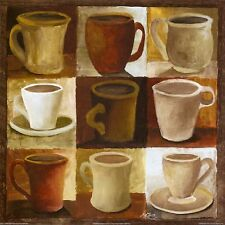 COFFEE CUPS  BROWN SHADES  SET OF 4 COASTERS RUBBER WITH FABRIC TOP