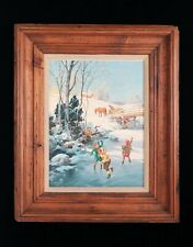 George Hinke Original Oil Painting Winter Christmas Kids Ice Skating Santa Claus