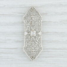 Vintage Diamond Filigree Brooch 14k White Gold Openwork Floral Pin
