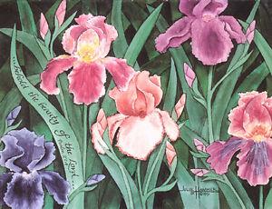 """""""Iris"""" 5x7 double-matted Watercolor Art Print by artist, Julie Hammer"""