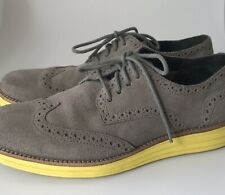 Cole Haan LUNARGRAND Grey Suede Yellow Soles Oxford SHOES Men's 8 US