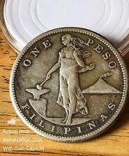 One Peso Filipinas Old 1 Peso Silver Coin USPI 1909s