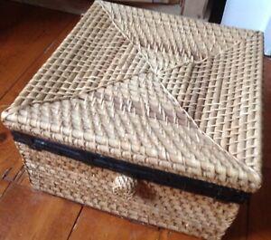 A Unusual Boho Woven Natural Fibre Rattan Lidded Storage Box / Cube