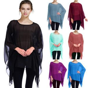 Summer Women's Chiffon Caftan Poncho Tunic Top Solid Semi Sheer Oversized Shirt