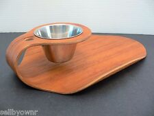 Rainbow Products Curved Teak Wood Tray With Stainless Dip Bowl Vintage Sweden