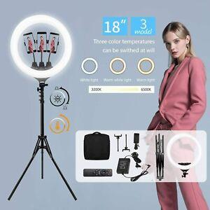 "18"" LED Ring Light Dimmable Lighting Kit Phone Selfie Tripod Stand Lamp Live UK"