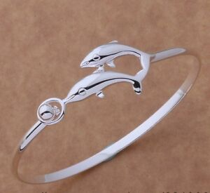 Silver Plated Dolphins Swimming Bracelet Bangle.925 Sterling.18cm.8.5 Inches