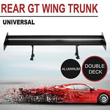 """52"""" Adjustable Aluminum GT Double Deck Racing Rear Trnnk Spoiler Wing Black"""