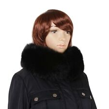 Genuine Black Fox Fur Stand-Up Collar! Wrap Scarf Natural  Real Fur Stole Shawl