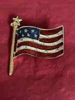 Vintage American Flag Gold Tone Enamel Rhinestone Pin Brooch Estate Sale