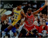Magic Johnson Signed Autographed Auto 8X10 Photo vs Michael Jordan Beckett COA