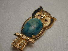 Stunning Estate 14K Yellow Gold Ruby Seed Pearl Turquoise Owl Brooch Pin