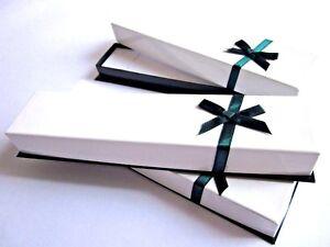 Long Jewellery Box Gift/Present Box -Watch,Bracelet,Pen,Chain White/Green -HP9W