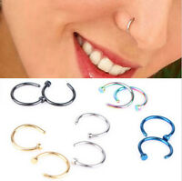 2pcs Stainless Steel Open Hoop Nose Ring Studs Body Piercing Fashion Earrings