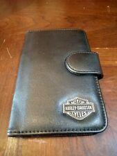 Harley Davidson Leather Metal Medallion Credit Sales Card Wallet Snap Closure