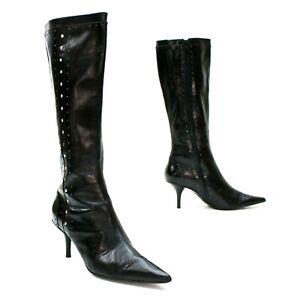 """Michael Kors Ladies 9 Black Silver Studded Side-zip Pump 3"""" Heels Booties"""
