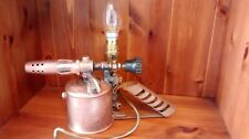 Vintage Antique upcycled Blow Torch Table Lamp, SteamPunk ManCave brass/copper