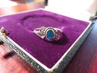 Schöner 925 Silber Ring Klein Jugendstil Art Deco Türkis Funkelnd Elegant Edel
