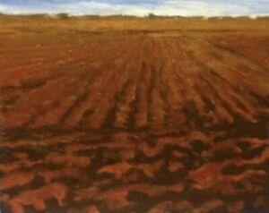 Midwest American plowed Farm Impressionism Art Oil Painting Landscape western