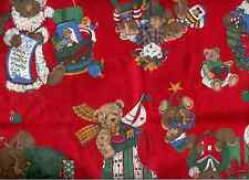 VIP CRANSTON CHRISTMAS BEARS FABRIC REMNANTS DOLLS CRAFTS QUILTING
