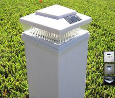 Set of 4 Garden Plastic White 5 X 5 Outdoor 5 LED 78Lumens Solar Post Cap Light