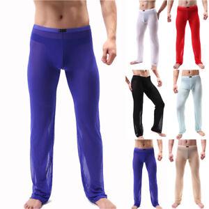 Men Mesh See Through Long Underpants Underwear John Leggings Sheer Yoga Pants US