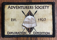 Adventurers Society Pith Helmet Morale Patch Tactical Military Army Badge Hook