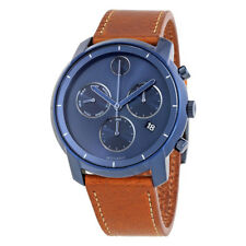 New Movado Bold Chronograph Blue PVD Leather Strap Men's Watch 3600476