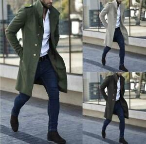 Men's Stand-Up Collar Metal Button Mid-Length Casual Multicolor Autumn Coat