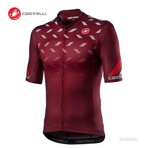 NEW 2021 Castelli AVANTI Short Sleeve Full Zip Cycling Jersey : BORDEAUX