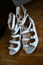 Roots Tribal white strappy victorian peeptoe sandals shoes heels 38 UK 5