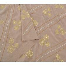 Sanskriti Vintage Brown Saree Pure Silk Hand Beaded Craft Fabric Premium Sari