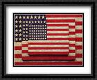 Three Flags 2x Matted 31x26 Large Black Ornate Framed Art Print by Jasper Johns