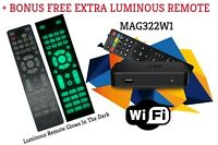 New Original Infomir MAG322W1 Mag 322W1 box WIFI + FREE LUMINOUS REMOTE