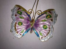 Butterfly Hanging Ornament Cloisonne Colorful Purple White Blue Green - 4393