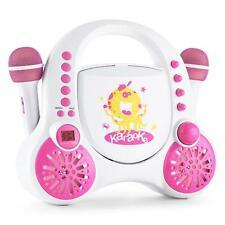 Karaoke Impianto Lettore CD AUX Microfono Bianco Altoparlante Portatile