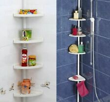 4 Tier Adjustable Telescopic Bathroom Corner Shower Shelf Unit Rack Organiser