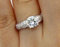 2.00 Ct 14K White Gold Round Engagement Wedding Bridal Propose Promise Ring