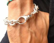 bracelet heavy wide solid 925 cuban chain hollow link sterling silver chunky