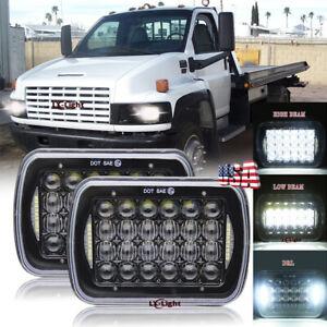 "Pair 170W 7x6"" Led Headlights Hi/Lo Halo for GMC TopKick C6500 C5500 C4500 Truck"
