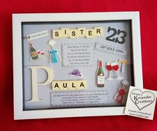 SISTER BIRTHDAY GIFT PERSONALISED PICTURE FRAME SCRABBLE SISTER-IN-LAW CHRISTMAS