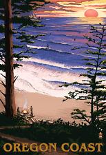 Oregon Coast Sunset Surfers Poster Print, 13x19