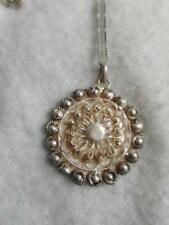"ITALIAN 925 STERLING 30"" CHAIN NECKLACE & S AMERICAN STERLING WIREWORK PENDANT"