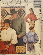 McCall's McC Old West Brand 2451 Misses' & Mens' Shirts Size Sml, Med, Lrg uncut