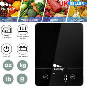 5kg Digital LCD Electronic Kitchen Glass Cooking Food Weighing Scales Black UK