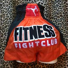 Thai Smai 1980s Martial Arts Shorts~Fitness Fight Club~Black/Orange/Stars~N ew~L