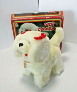 Vintage Little Charmy White Puppy Battery Operated Dog With Box #FOD-808 Taiwan